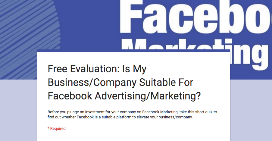 Free Evaluation: Is Facebook Marketing/Advertising Suitable For Your Business?